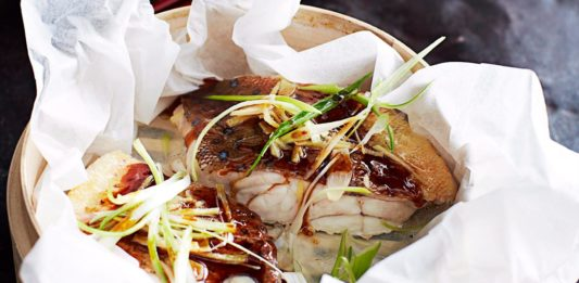 Bag baked trout with ginger soy